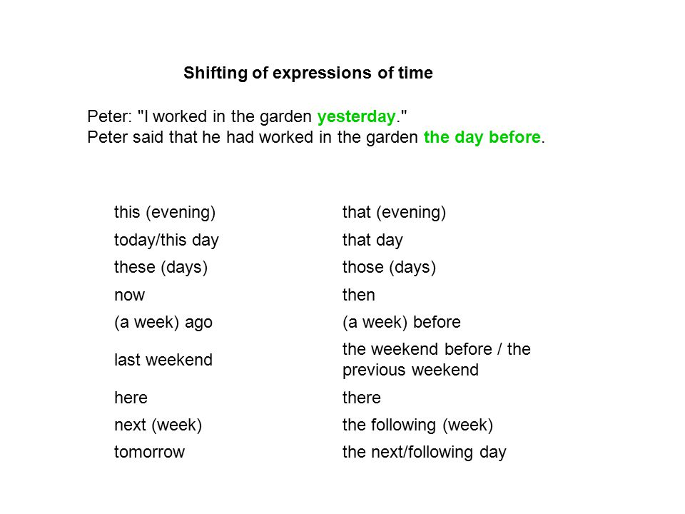 Shifting of expressions of time