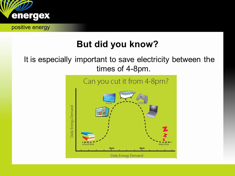 But did you know It is especially important to save electricity between the times of 4-8pm.