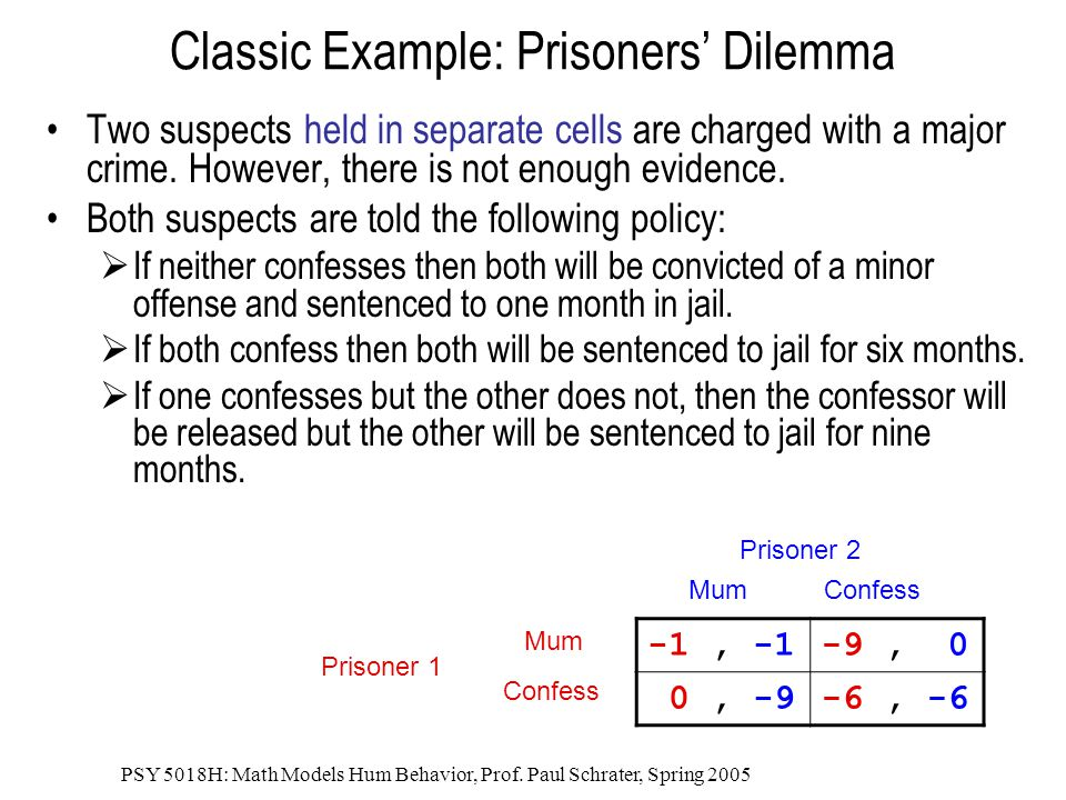 Classic Example: Prisoners' Dilemma