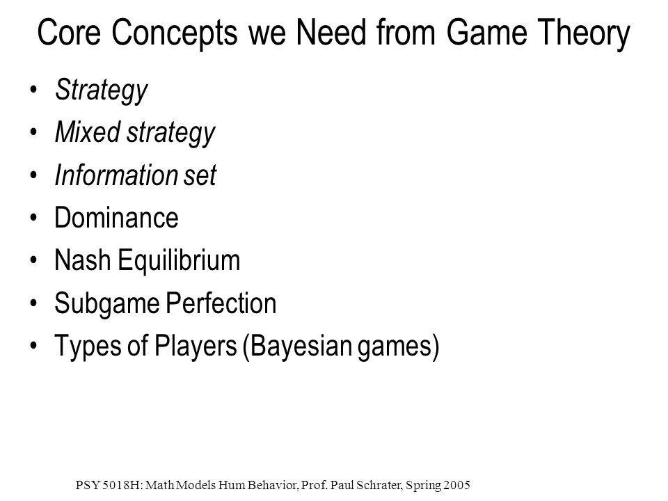Core Concepts we Need from Game Theory