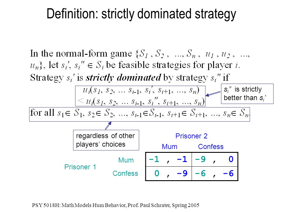 Definition: strictly dominated strategy