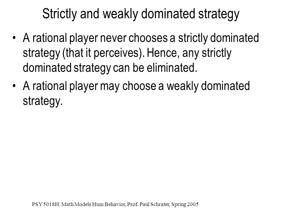 Strictly and weakly dominated strategy
