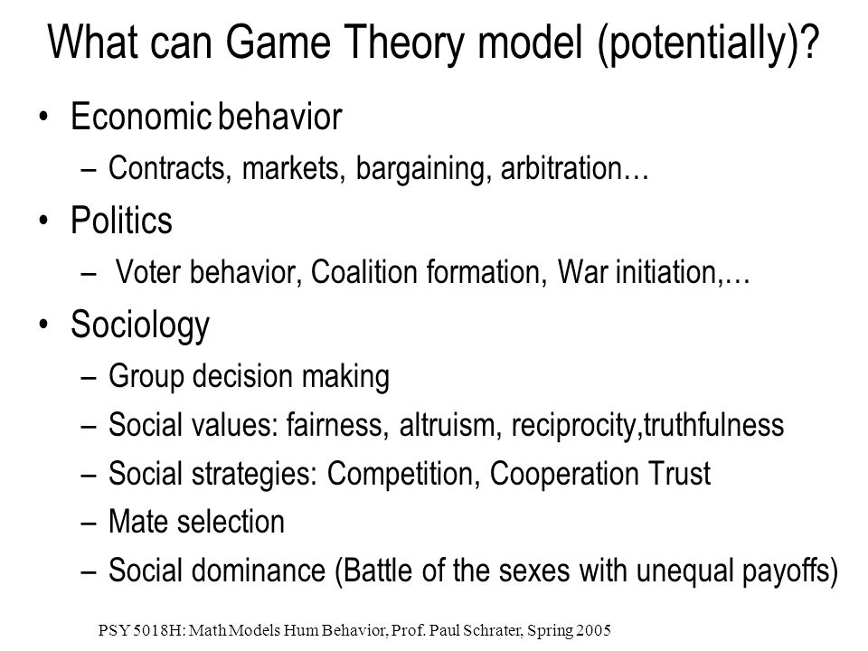 What can Game Theory model (potentially)