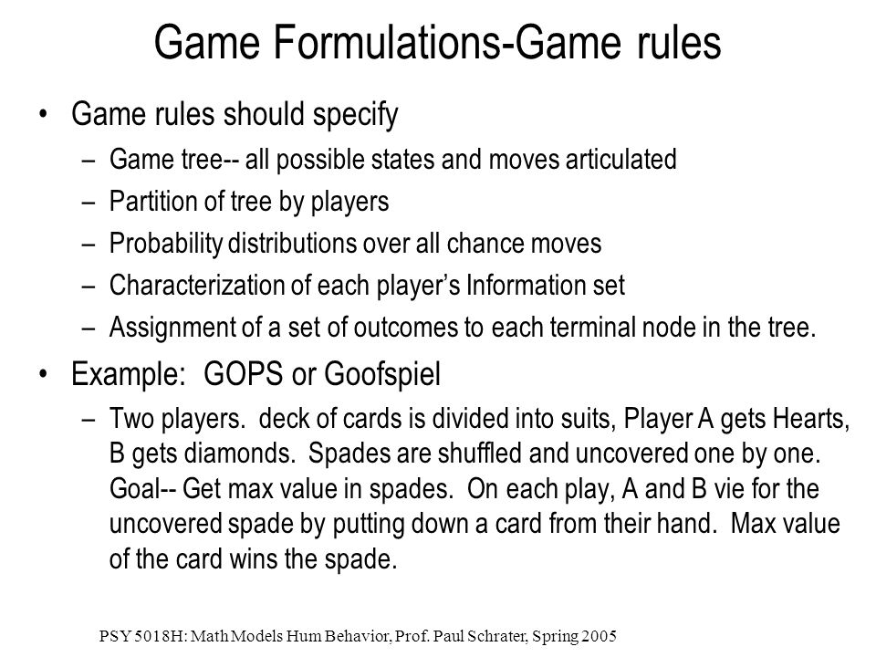 Game Formulations-Game rules
