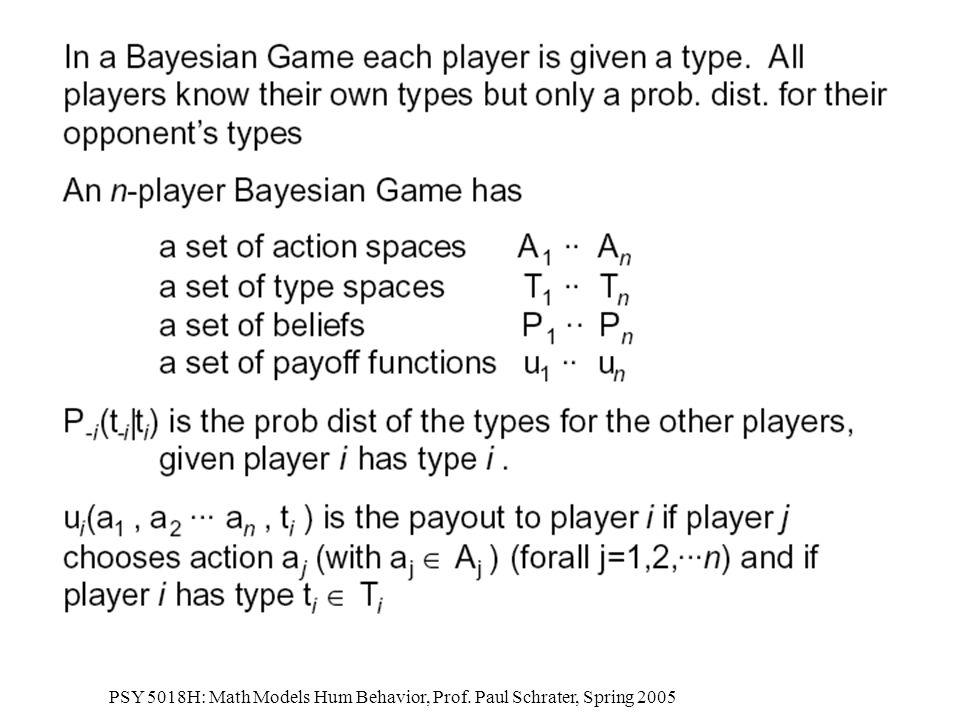PSY 5018H: Math Models Hum Behavior, Prof. Paul Schrater, Spring 2005