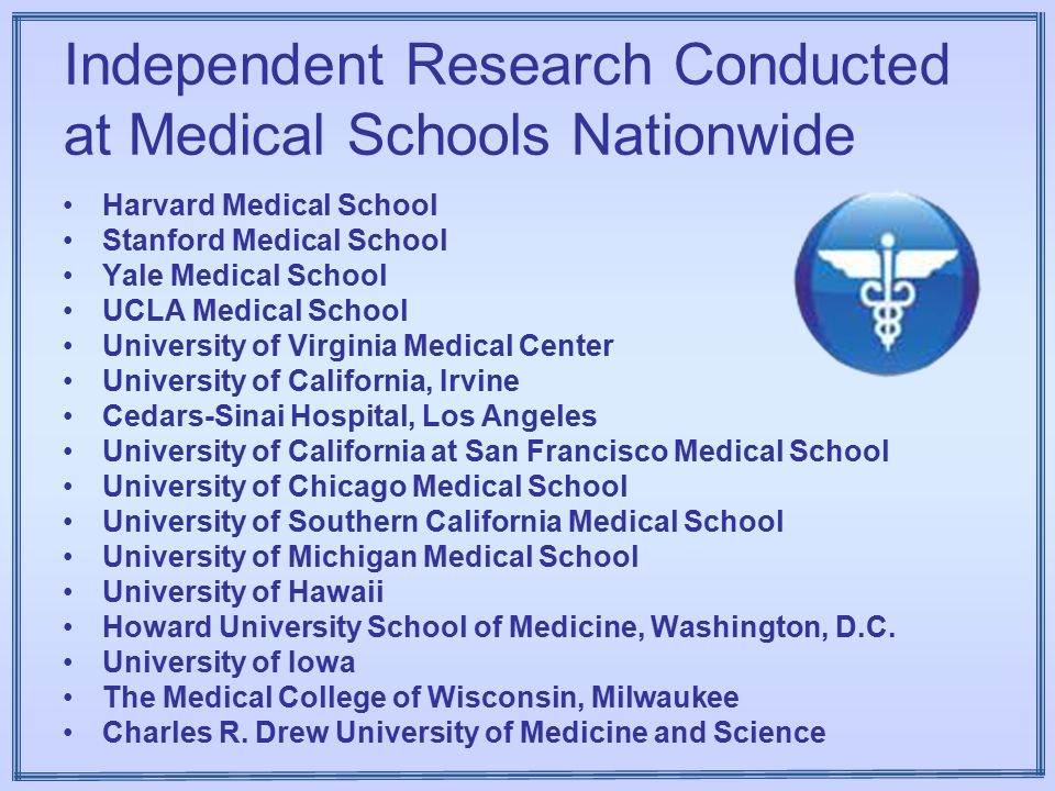 Independent Research Conducted at Medical Schools Nationwide