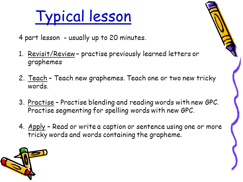 Typical lesson 4 part lesson - usually up to 20 minutes.