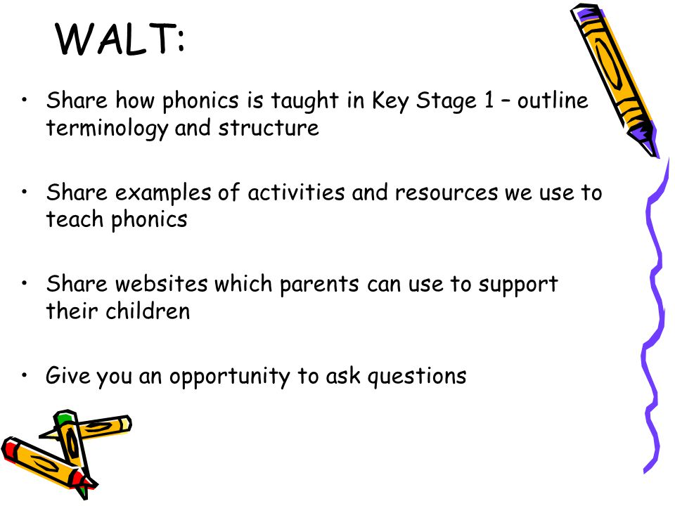WALT: Share how phonics is taught in Key Stage 1 – outline terminology and structure.