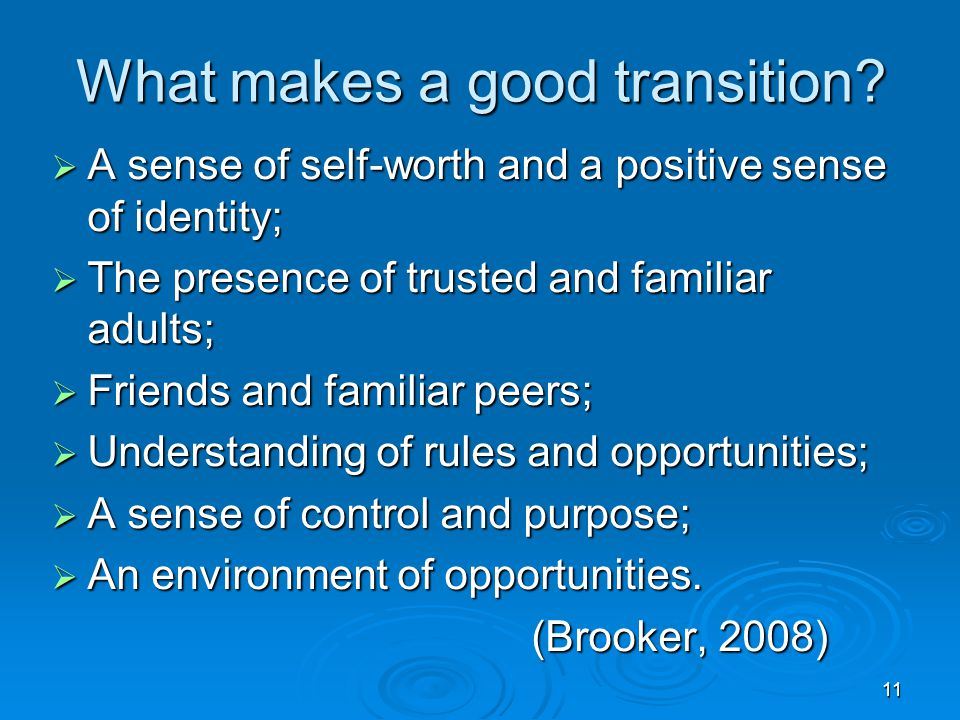 What makes a good transition