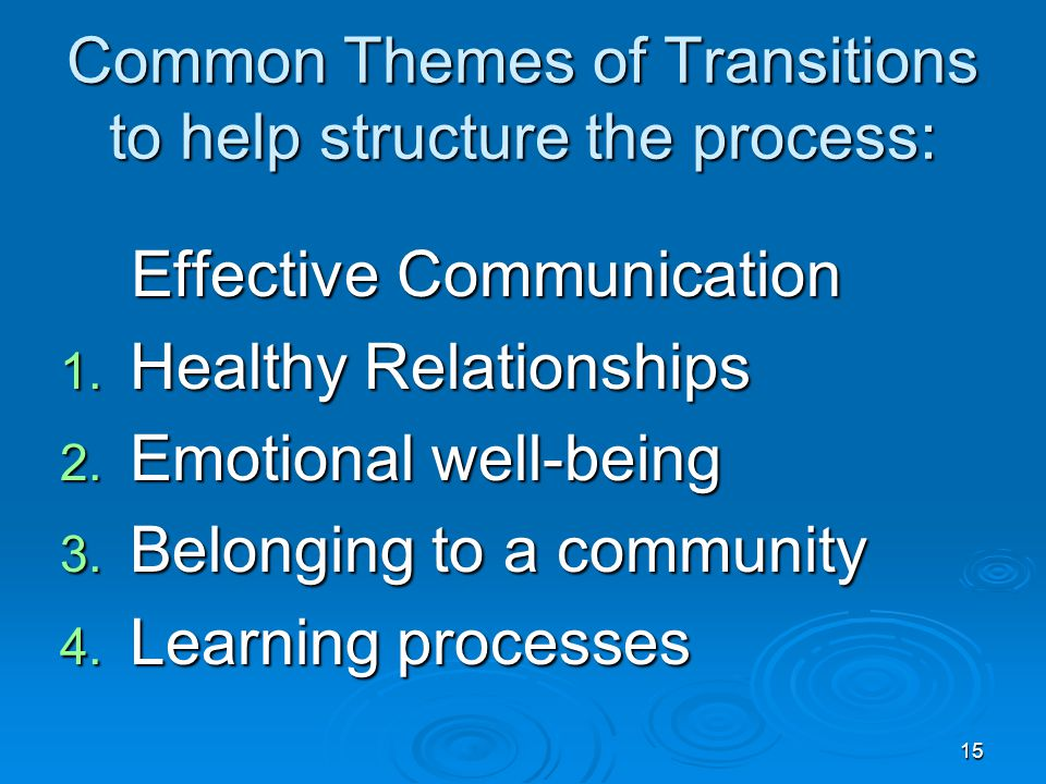 Common Themes of Transitions to help structure the process: