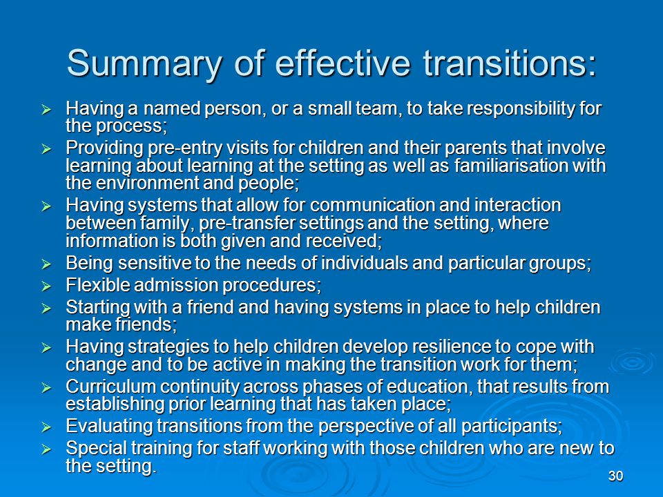 Summary of effective transitions: