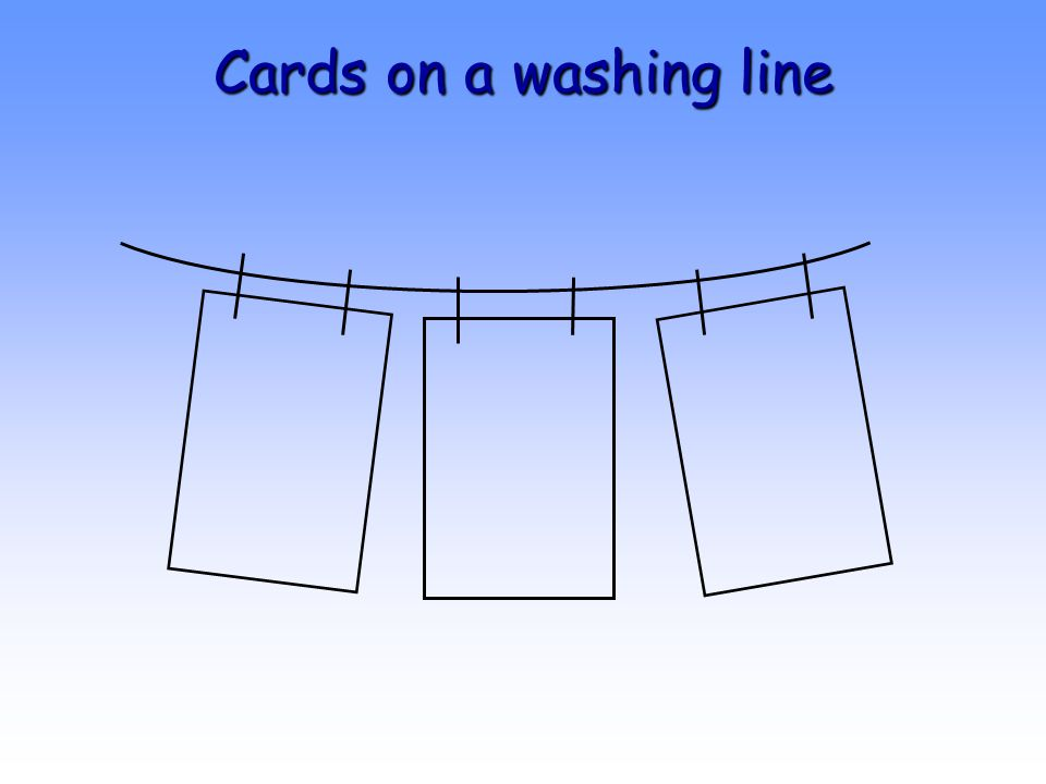 Cards on a washing line
