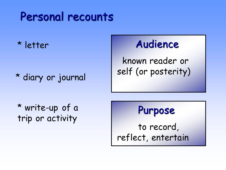 Personal recounts Audience * letter