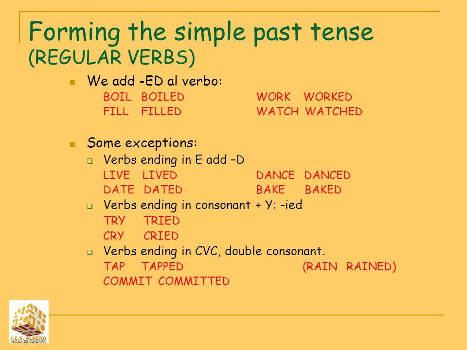 Forming the simple past tense (REGULAR VERBS)