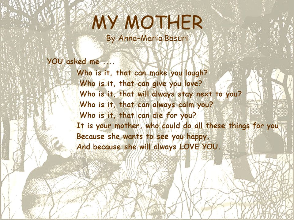 MY MOTHER By Anna-Maria Basuri