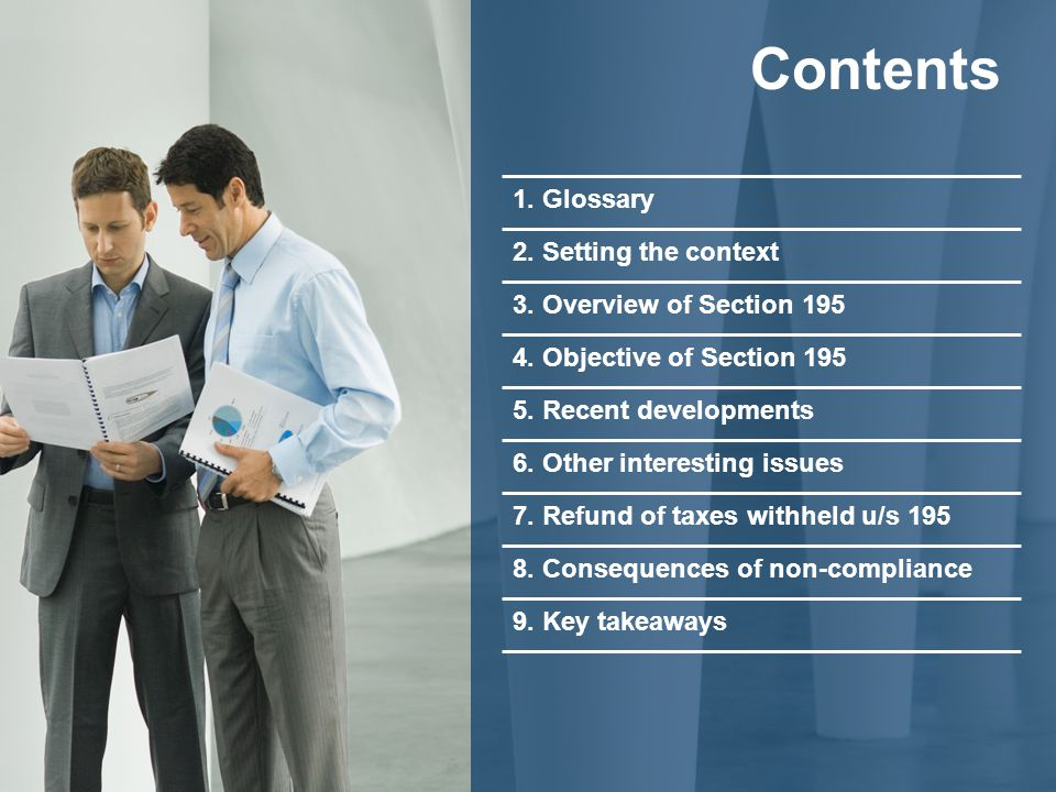 Contents 1. Glossary 2. Setting the context 3. Overview of Section 195