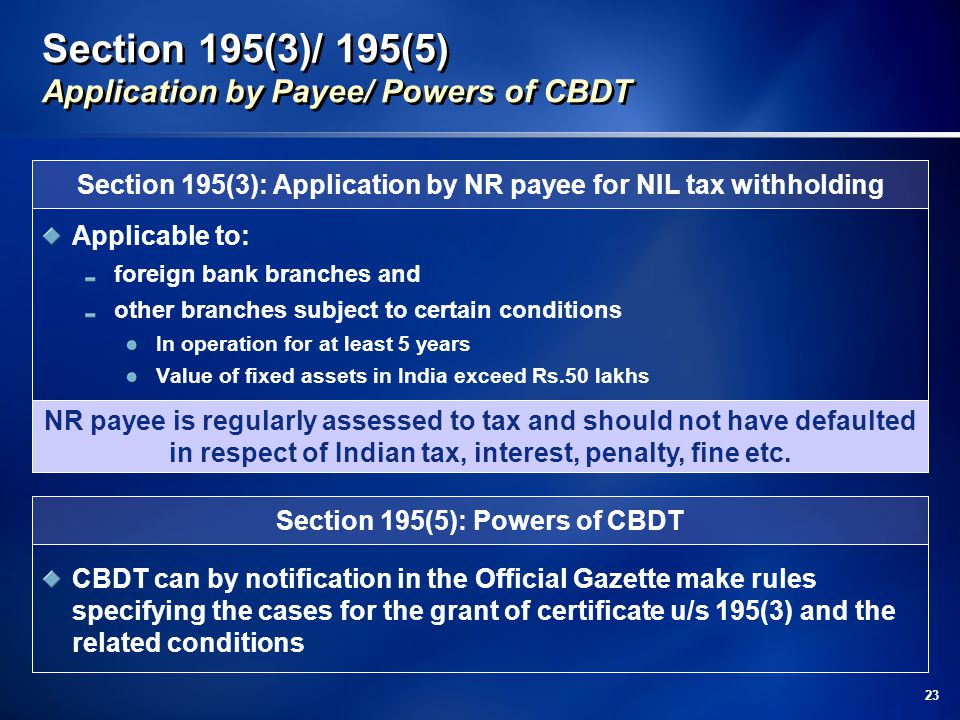 Section 195(3)/ 195(5) Application by Payee/ Powers of CBDT