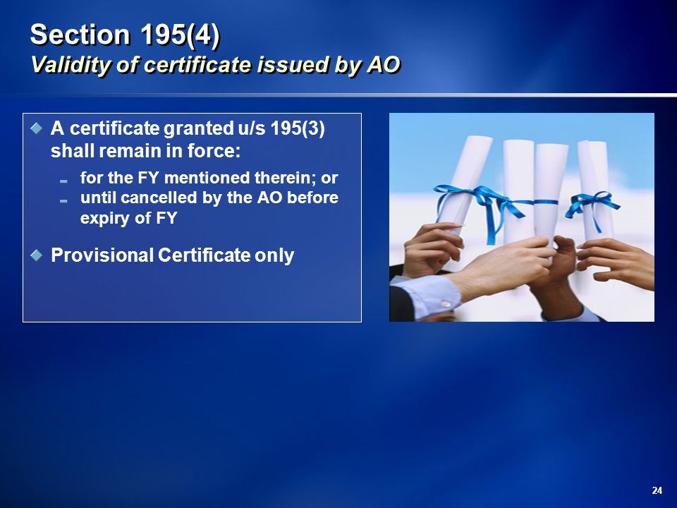 Section 195(4) Validity of certificate issued by AO