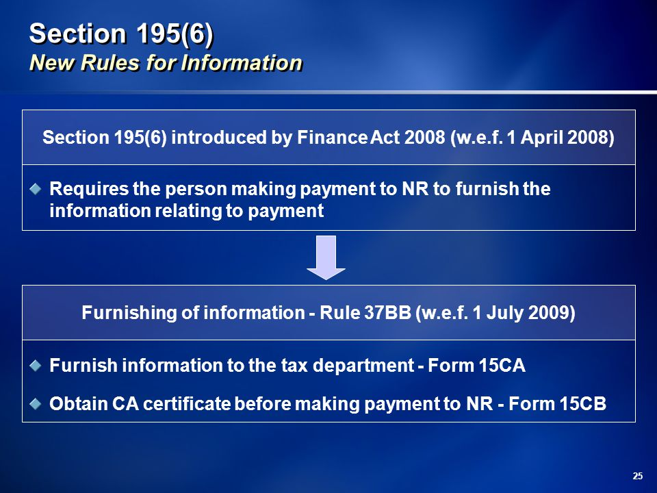 Section 195(6) New Rules for Information