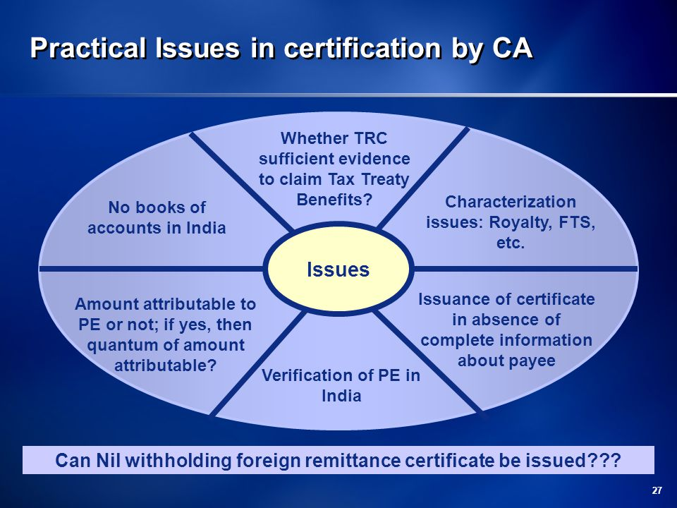 Practical Issues in certification by CA