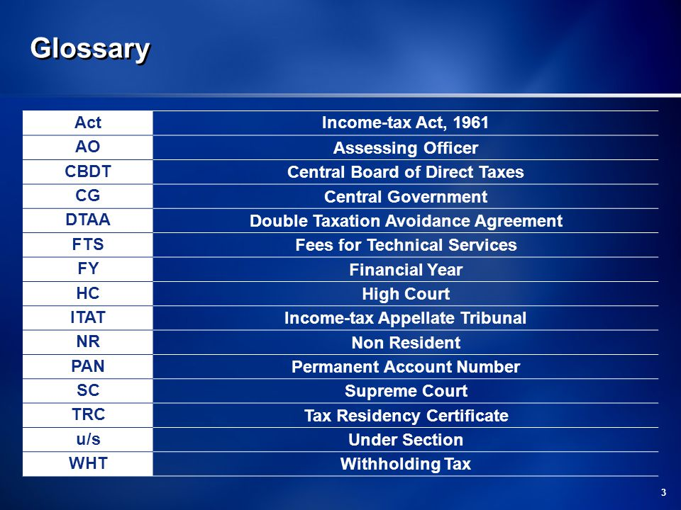 Glossary Act Income-tax Act, 1961 AO Assessing Officer CBDT