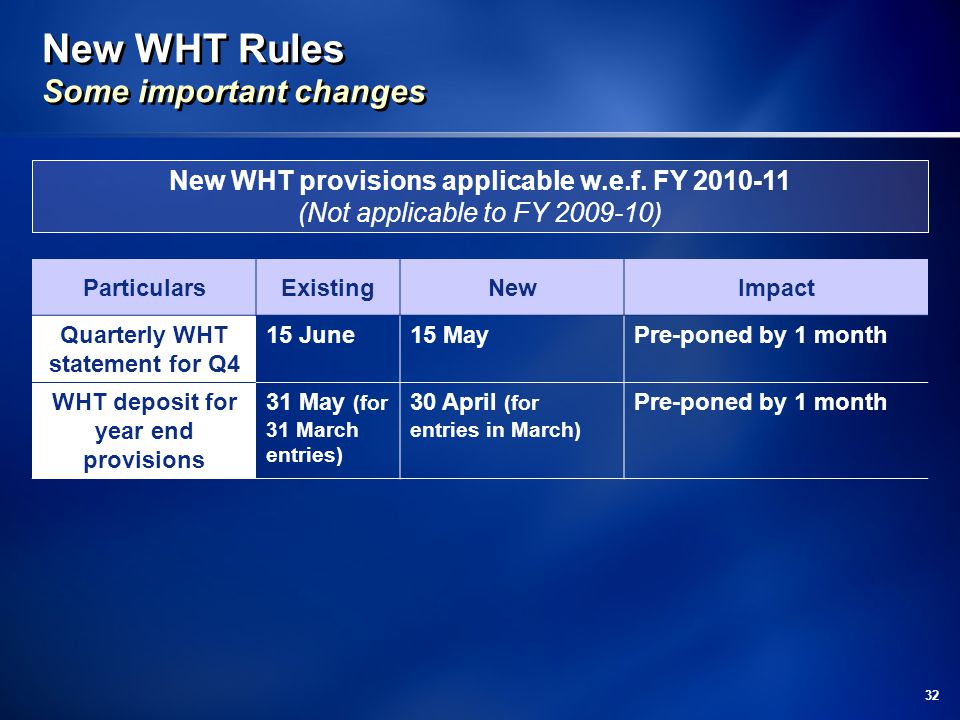 New WHT Rules Some important changes