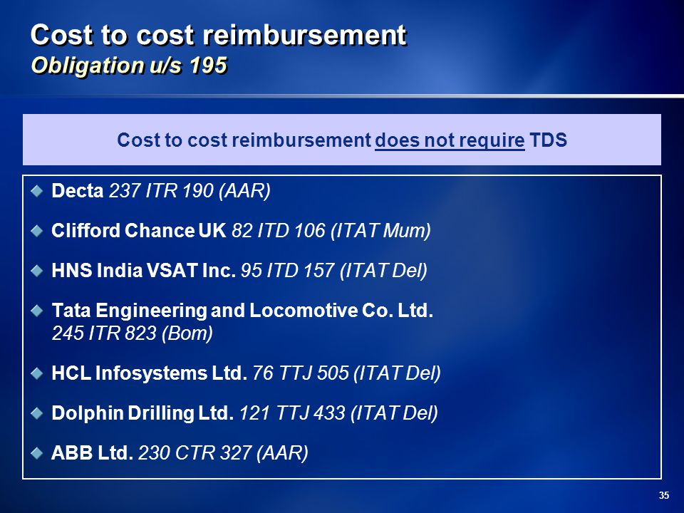 Cost to cost reimbursement Obligation u/s 195