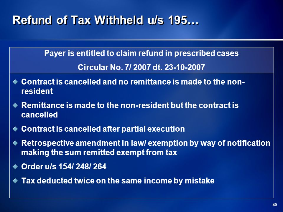 Refund of Tax Withheld u/s 195…