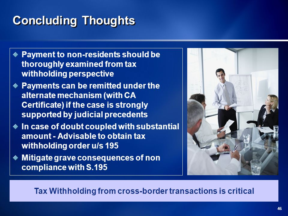 Tax Withholding from cross-border transactions is critical