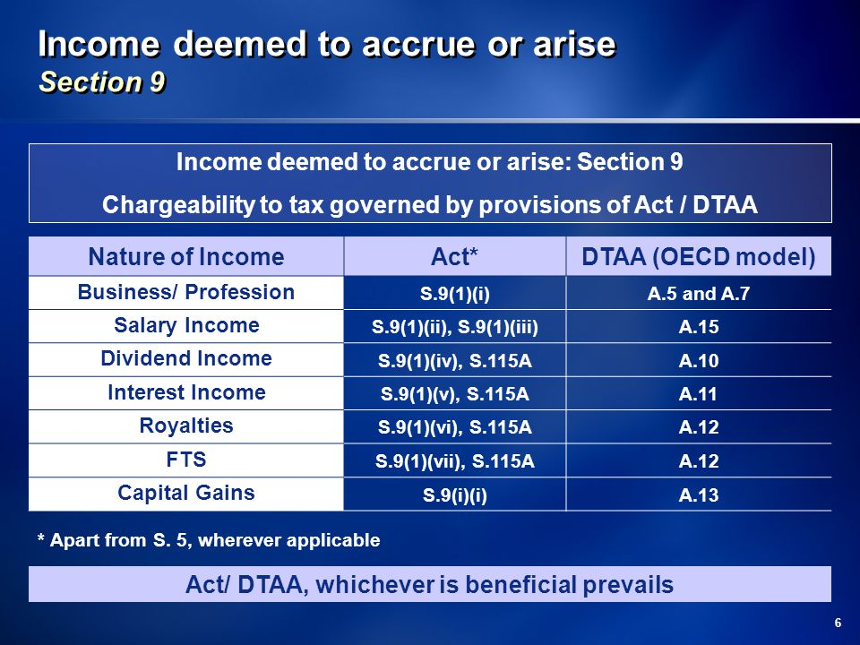 Income deemed to accrue or arise Section 9
