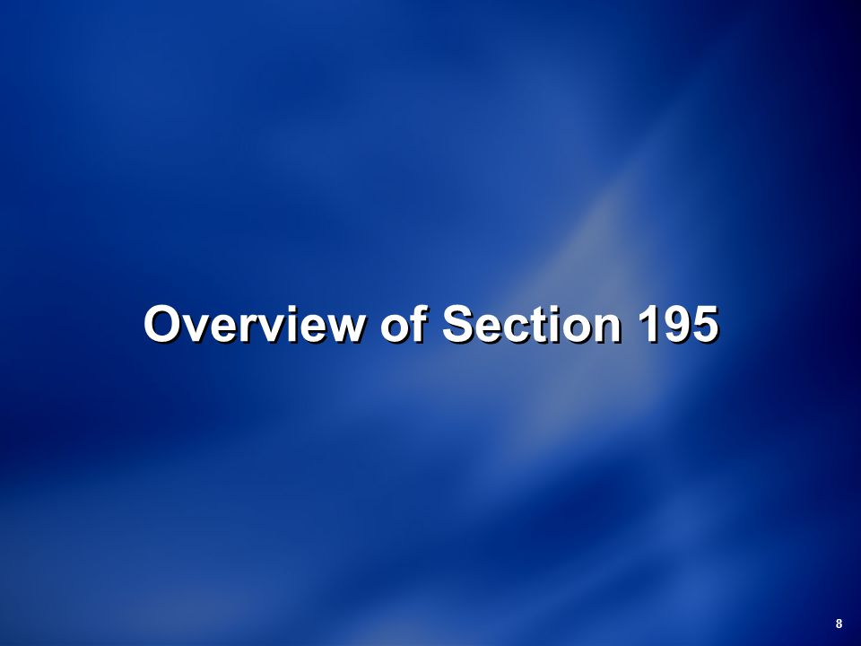 Overview of Section 195