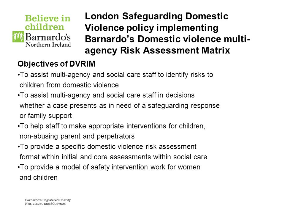 London Safeguarding Domestic Violence policy implementing Barnardo's Domestic violence multi-agency Risk Assessment Matrix