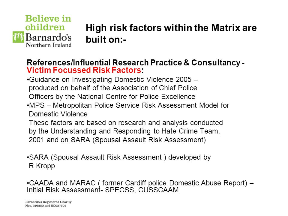High risk factors within the Matrix are built on:-