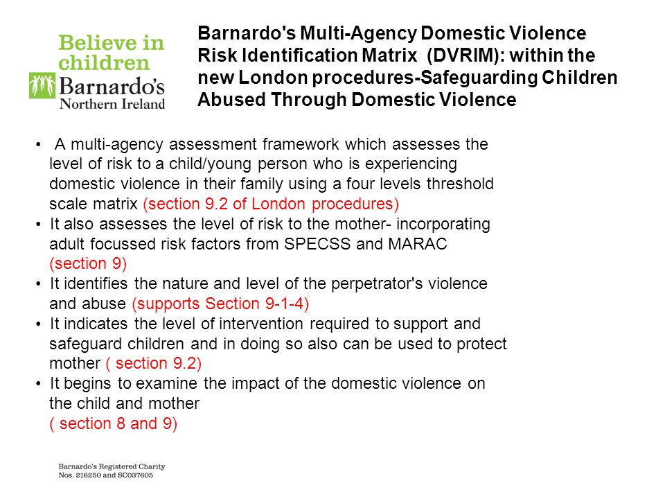 Barnardo s Multi-Agency Domestic Violence Risk Identification Matrix (DVRIM): within the new London procedures-Safeguarding Children Abused Through Domestic Violence