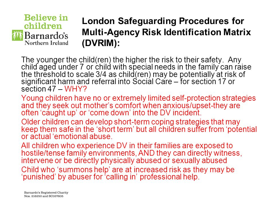 London Safeguarding Procedures for Multi-Agency Risk Identification Matrix (DVRIM):