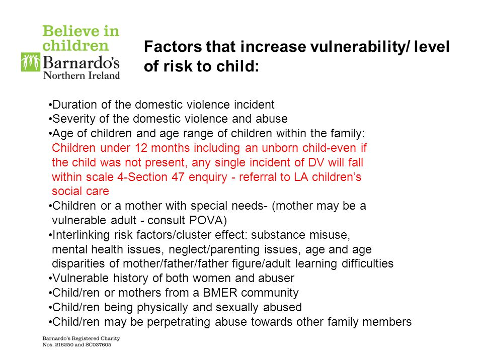 Factors that increase vulnerability/ level of risk to child: