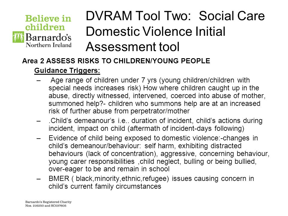 DVRAM Tool Two: Social Care Domestic Violence Initial Assessment tool