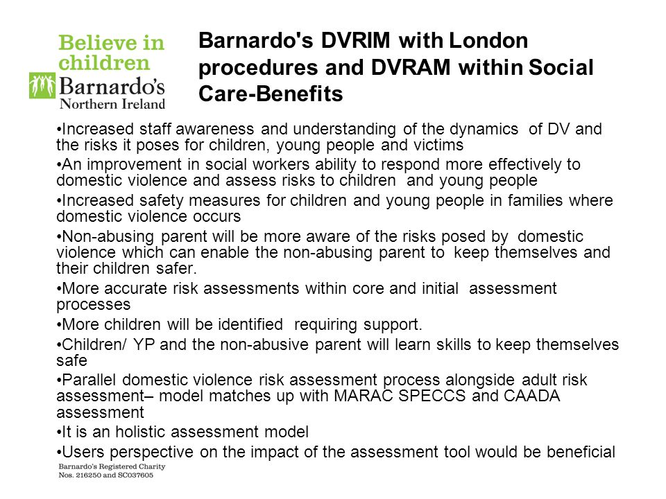 Barnardo s DVRIM with London procedures and DVRAM within Social Care-Benefits