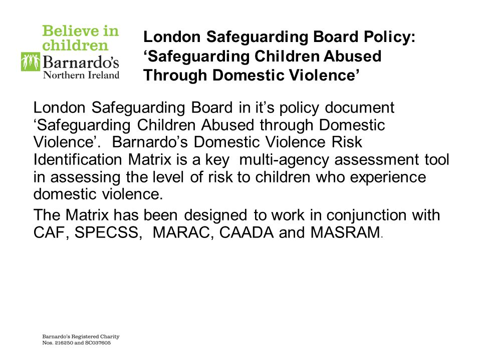 London Safeguarding Board Policy: 'Safeguarding Children Abused Through Domestic Violence'