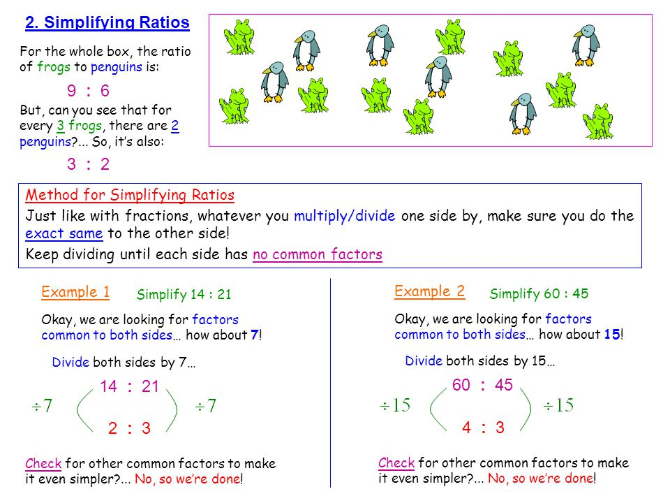 2. Simplifying Ratios 9 : 6 3 : 2 14 : 21 60 : 45 2 : 3 4 : 3