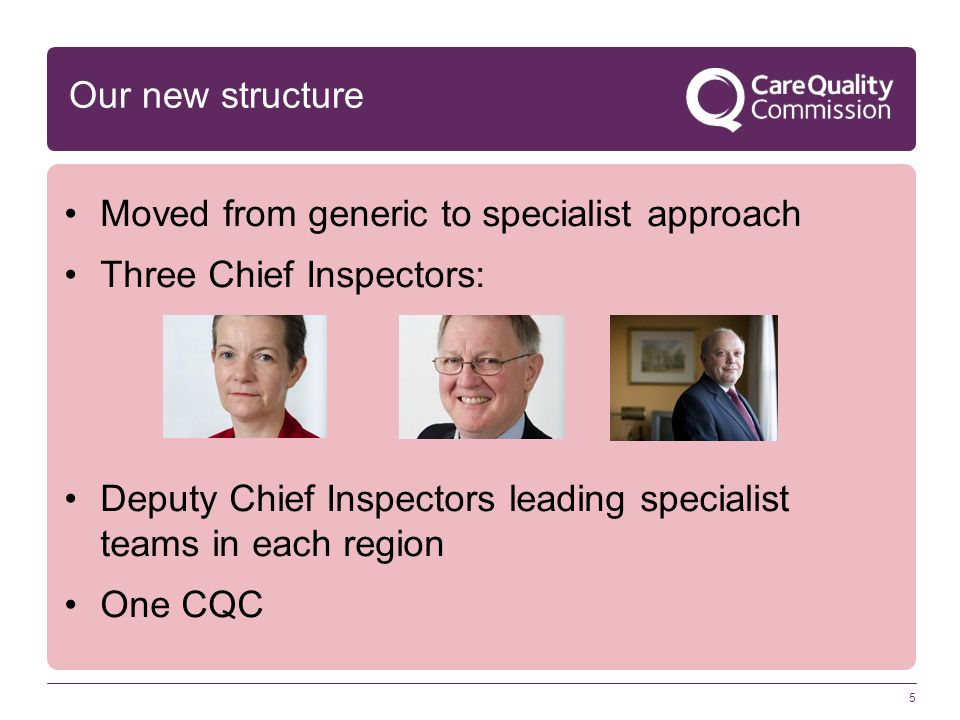 Moved from generic to specialist approach Three Chief Inspectors: