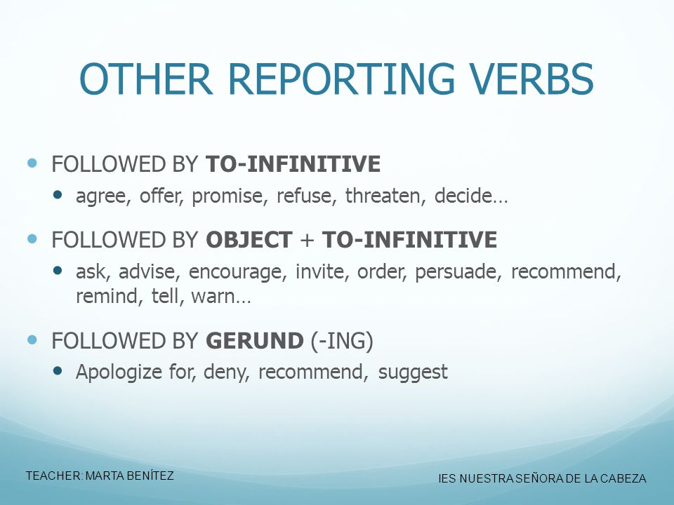 OTHER REPORTING VERBS FOLLOWED BY TO-INFINITIVE