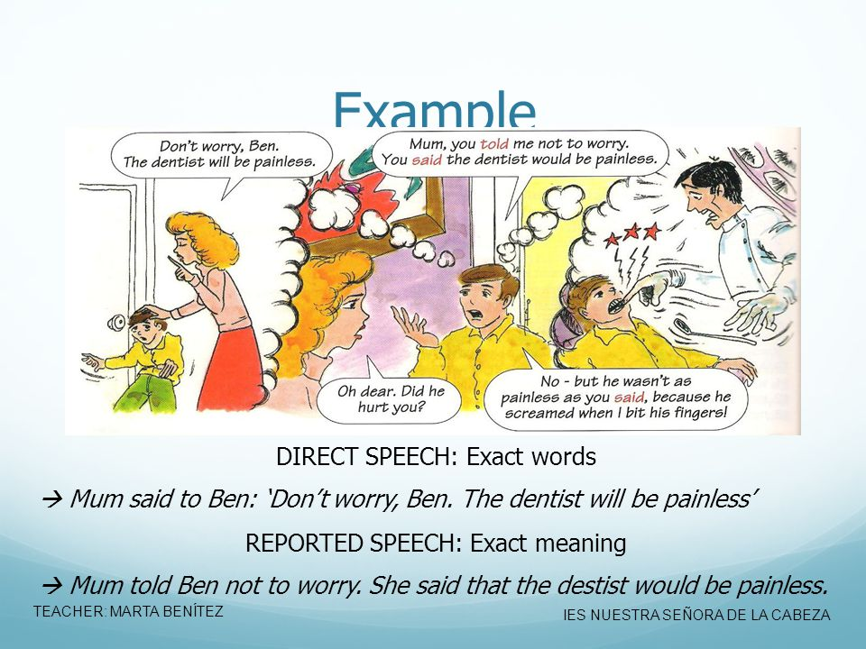 Example DIRECT SPEECH: Exact words