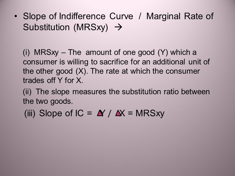 Slope of Indifference Curve / Marginal Rate of Substitution (MRSxy) 
