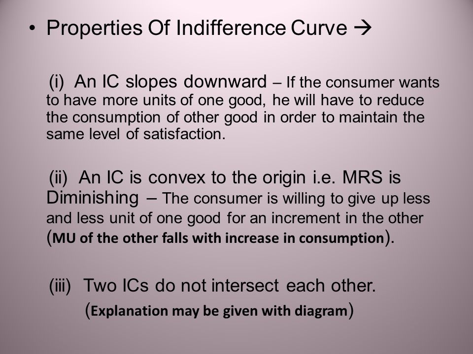 Properties Of Indifference Curve 