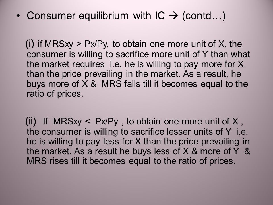 Consumer equilibrium with IC  (contd…)