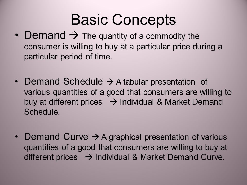 Basic Concepts Demand  The quantity of a commodity the consumer is willing to buy at a particular price during a particular period of time.