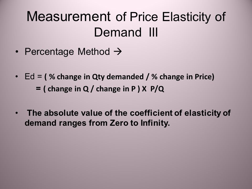 Measurement of Price Elasticity of Demand III