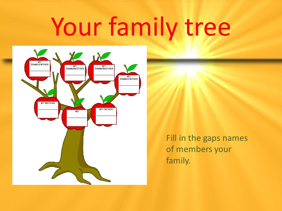Your family tree Fill in the gaps names of members your family.