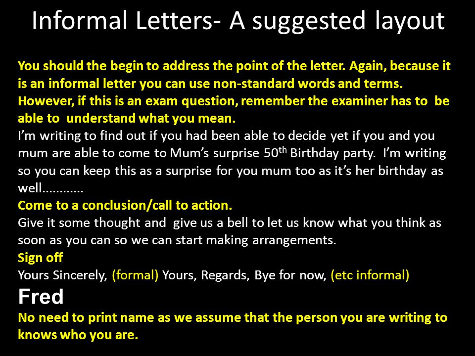 Informal Letters- A suggested layout